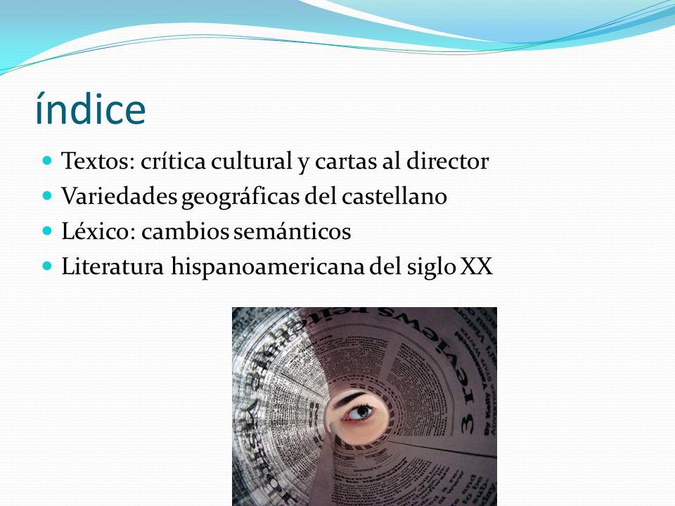 índice Textos: crítica cultural y cartas al director