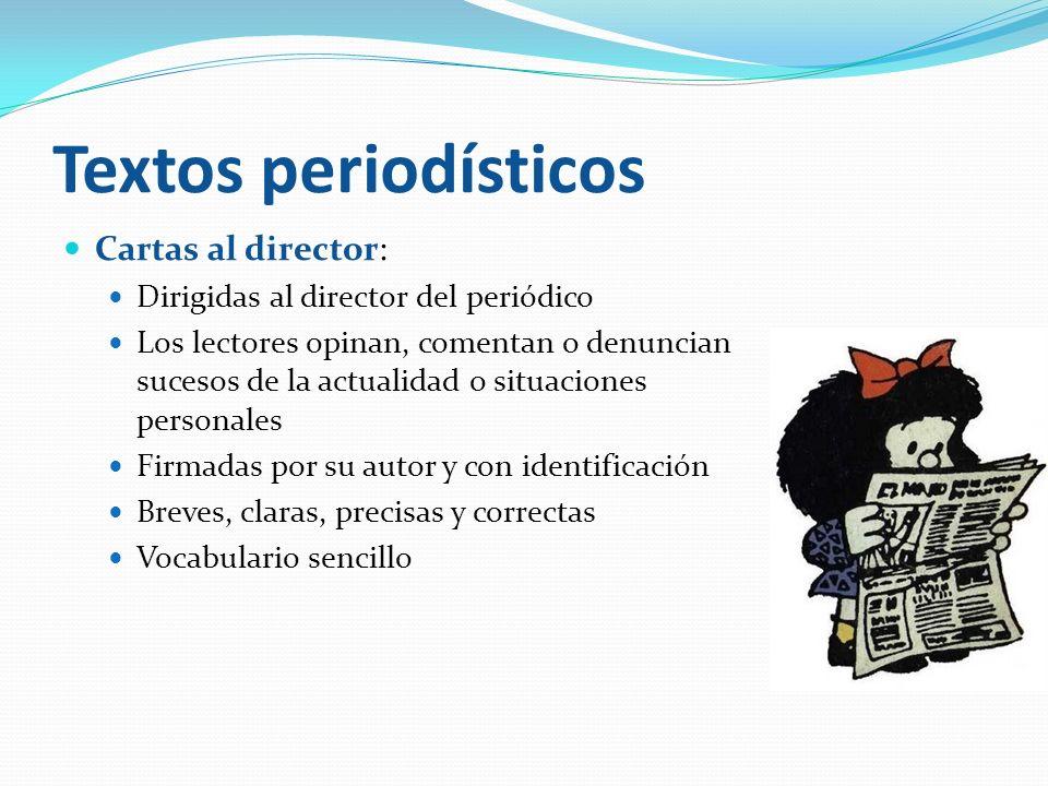 Textos periodísticos Cartas al director: