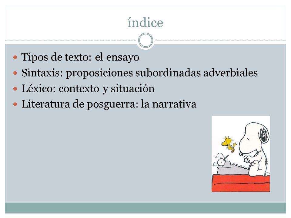 índice Tipos de texto: el ensayo
