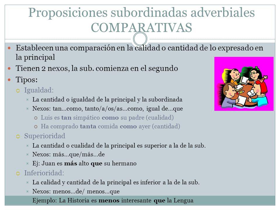 Proposiciones subordinadas adverbiales COMPARATIVAS