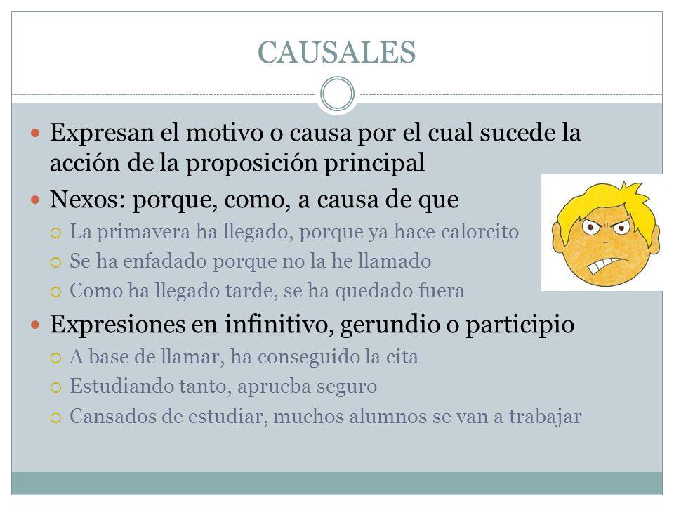 CAUSALES Expresan el motivo o causa por el cual sucede la acción de la proposición principal. Nexos: porque, como, a causa de que.
