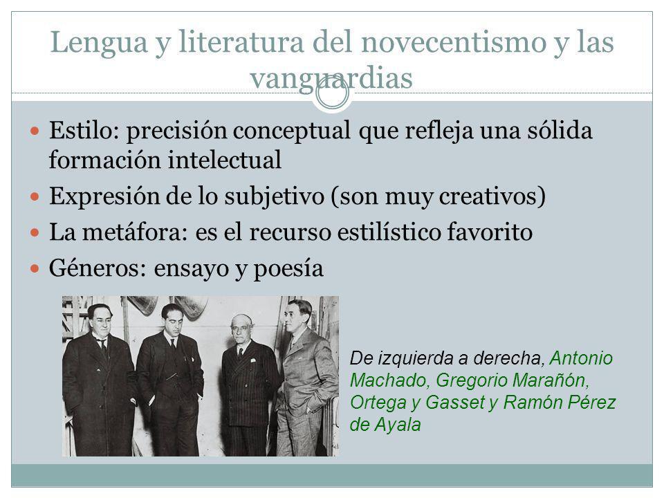 Lengua y literatura del novecentismo y las vanguardias