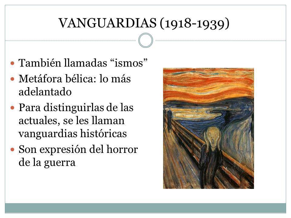 VANGUARDIAS (1918-1939) También llamadas ismos