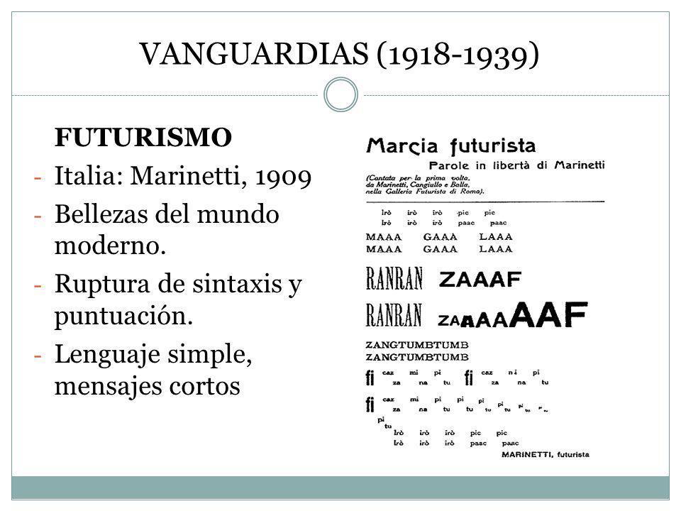 VANGUARDIAS (1918-1939) FUTURISMO Italia: Marinetti, 1909