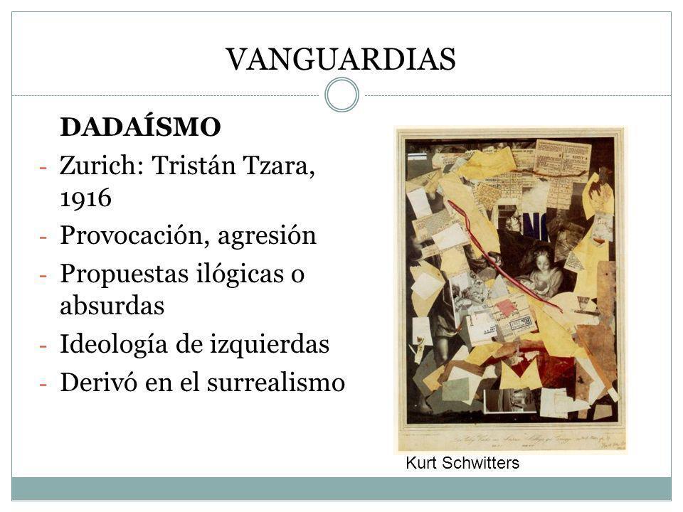 VANGUARDIAS DADAÍSMO Zurich: Tristán Tzara, 1916 Provocación, agresión