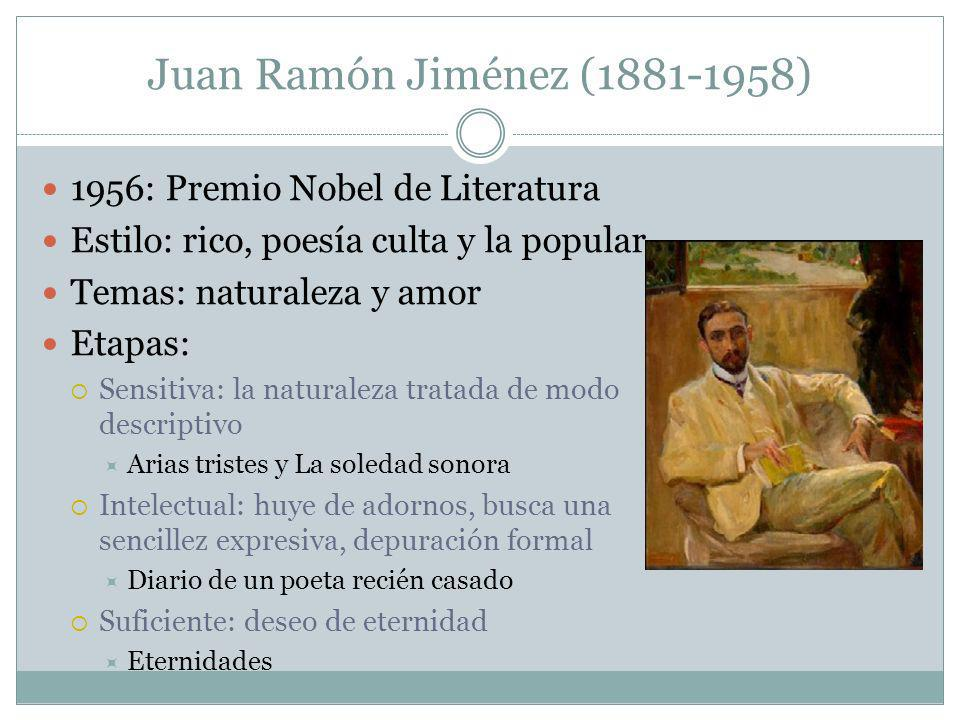 Juan Ramón Jiménez (1881-1958) 1956: Premio Nobel de Literatura