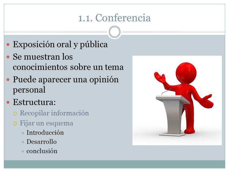 1.1. Conferencia Exposición oral y pública