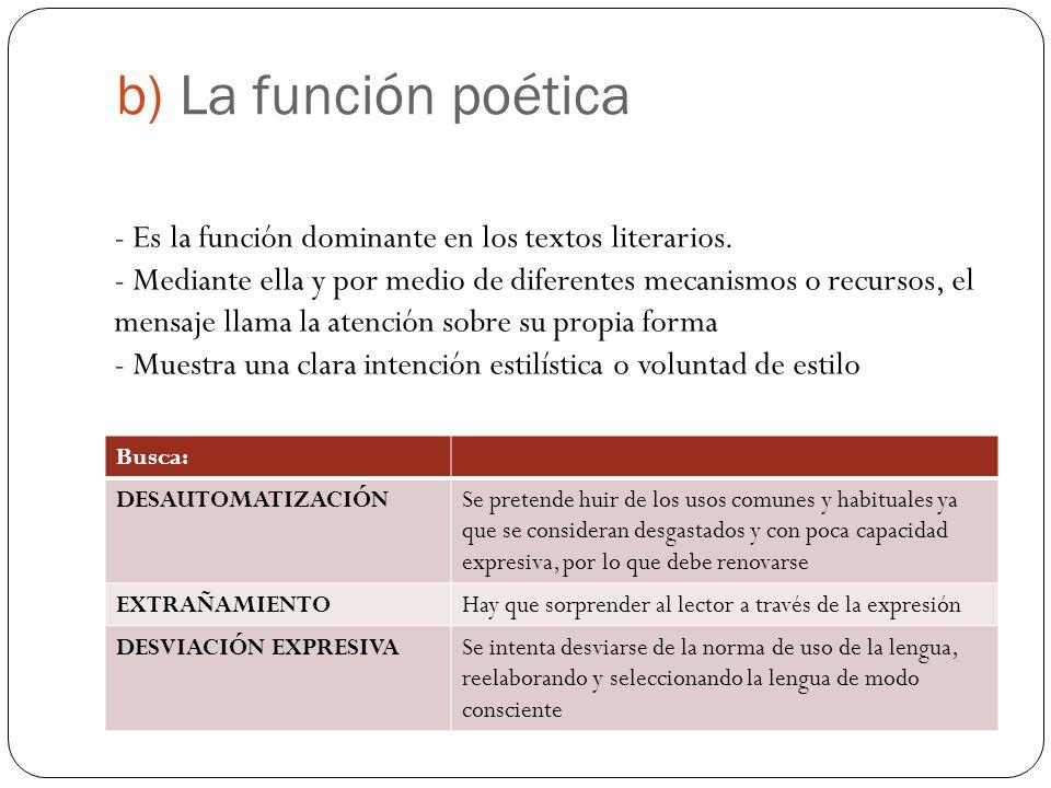 b) La función poética - Es la función dominante en los textos literarios.