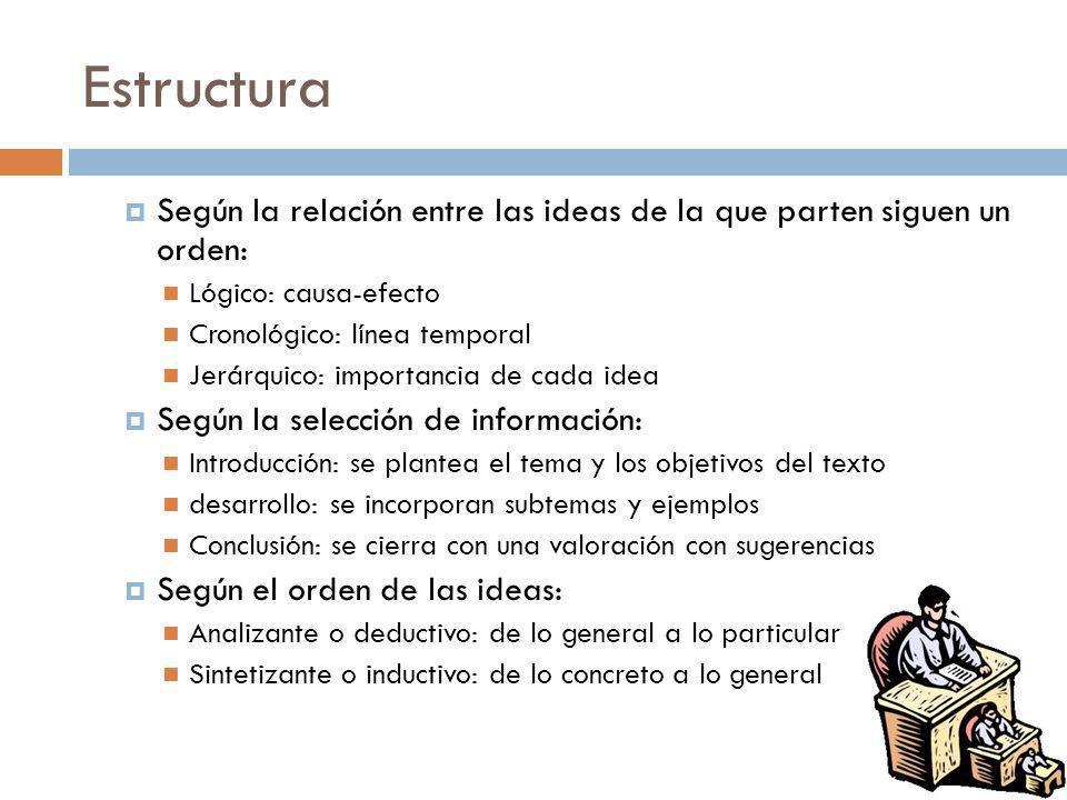Estructura Según la relación entre las ideas de la que parten siguen un orden: Lógico: causa-efecto.
