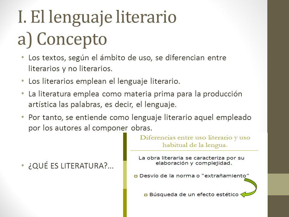 I. El lenguaje literario a) Concepto