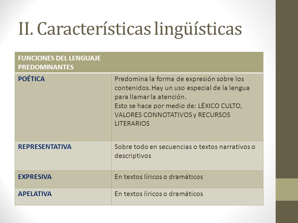 II. Características lingüísticas