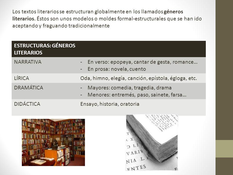 Los textos literarios se estructuran globalmente en los llamados géneros literarios. Éstos son unos modelos o moldes formal-estructurales que se han ido aceptando y fraguando tradicionalmente
