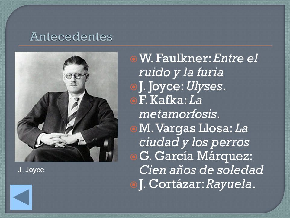 W. Faulkner: Entre el ruido y la furia J. Joyce: Ulyses.
