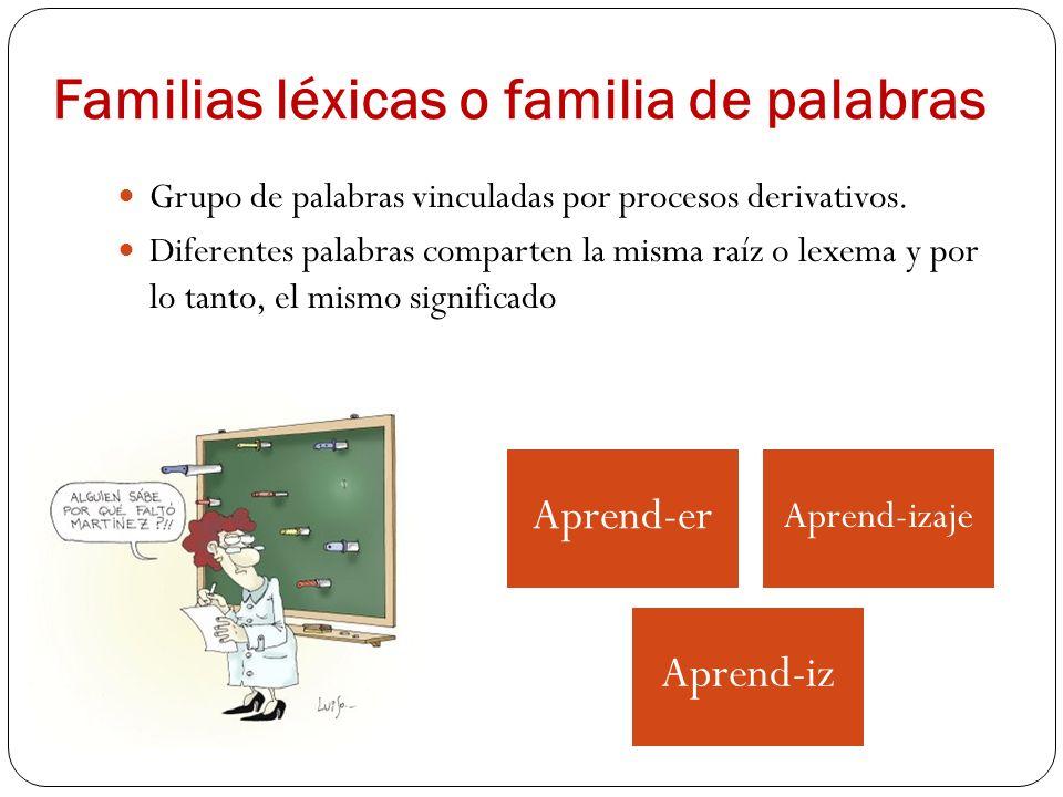 Familias léxicas o familia de palabras
