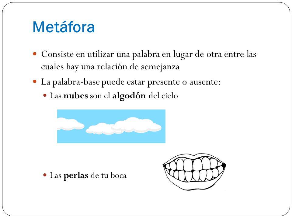MetáforaConsiste en utilizar una palabra en lugar de otra entre las cuales hay una relación de semejanza.