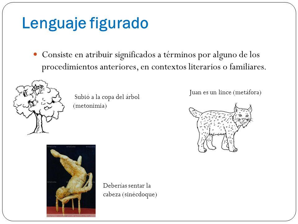 Lenguaje figurado Consiste en atribuir significados a términos por alguno de los procedimientos anteriores, en contextos literarios o familiares.