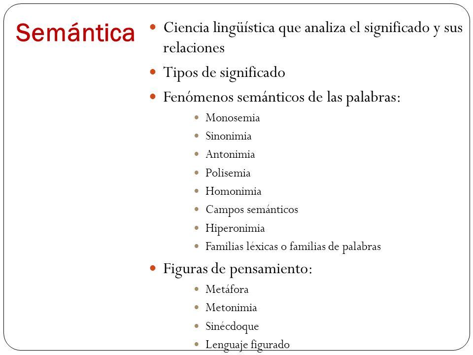Semántica Ciencia lingüística que analiza el significado y sus relaciones. Tipos de significado. Fenómenos semánticos de las palabras: