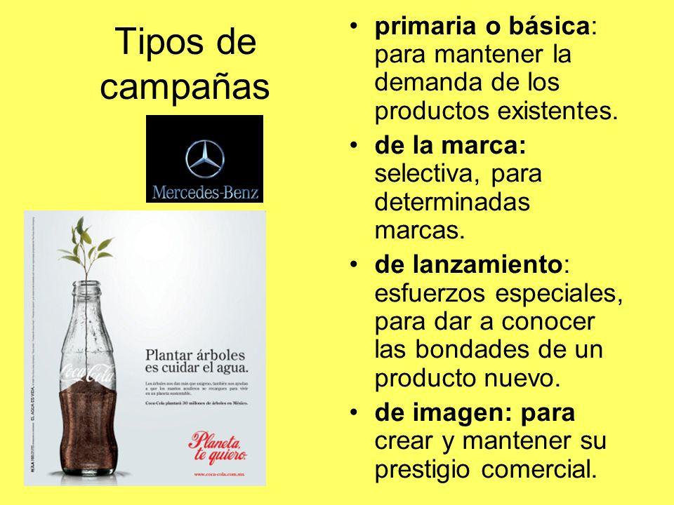 primaria o básica: para mantener la demanda de los productos existentes.