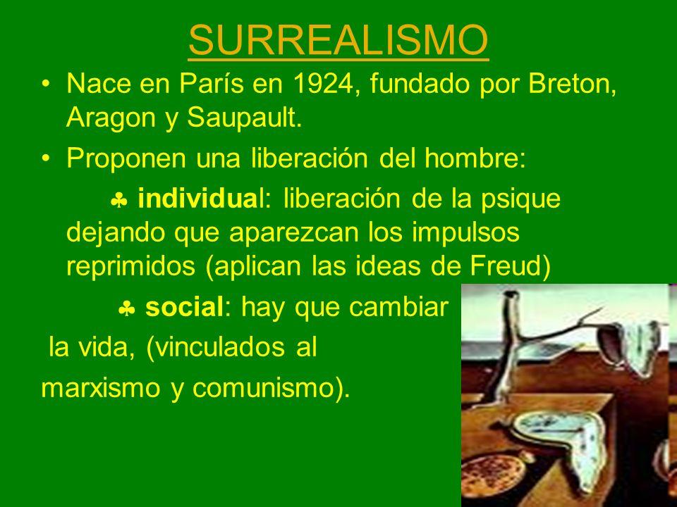 SURREALISMO Nace en París en 1924, fundado por Breton, Aragon y Saupault. Proponen una liberación del hombre: