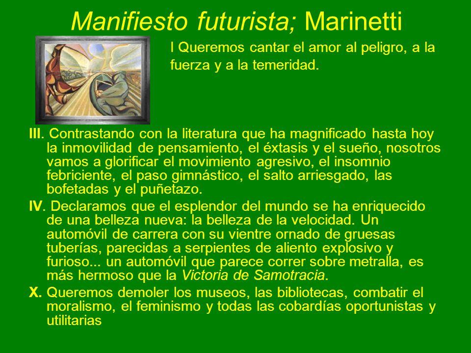 Manifiesto futurista; Marinetti