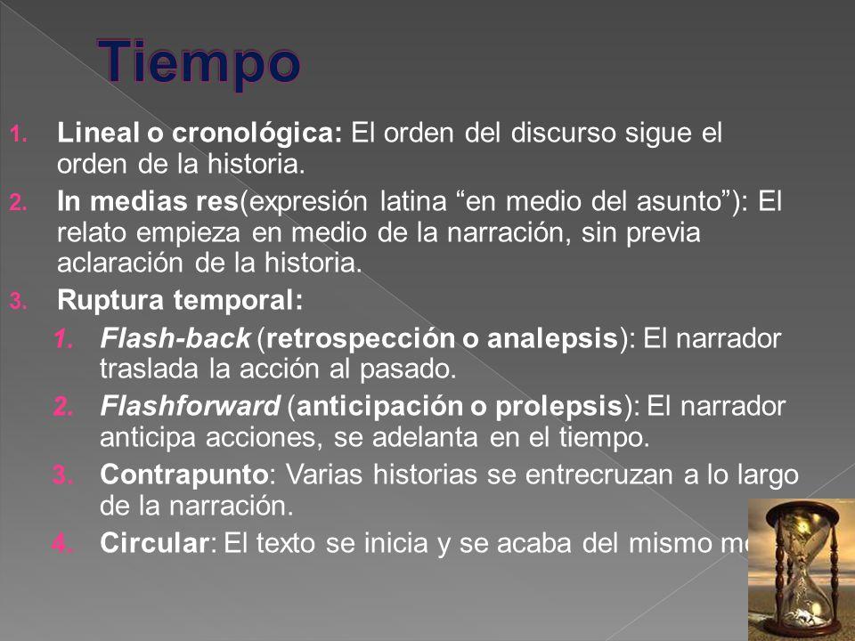 Tiempo Lineal o cronológica: El orden del discurso sigue el orden de la historia.