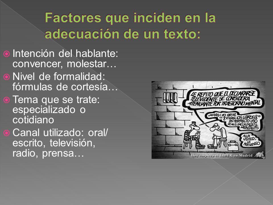 Factores que inciden en la adecuación de un texto: