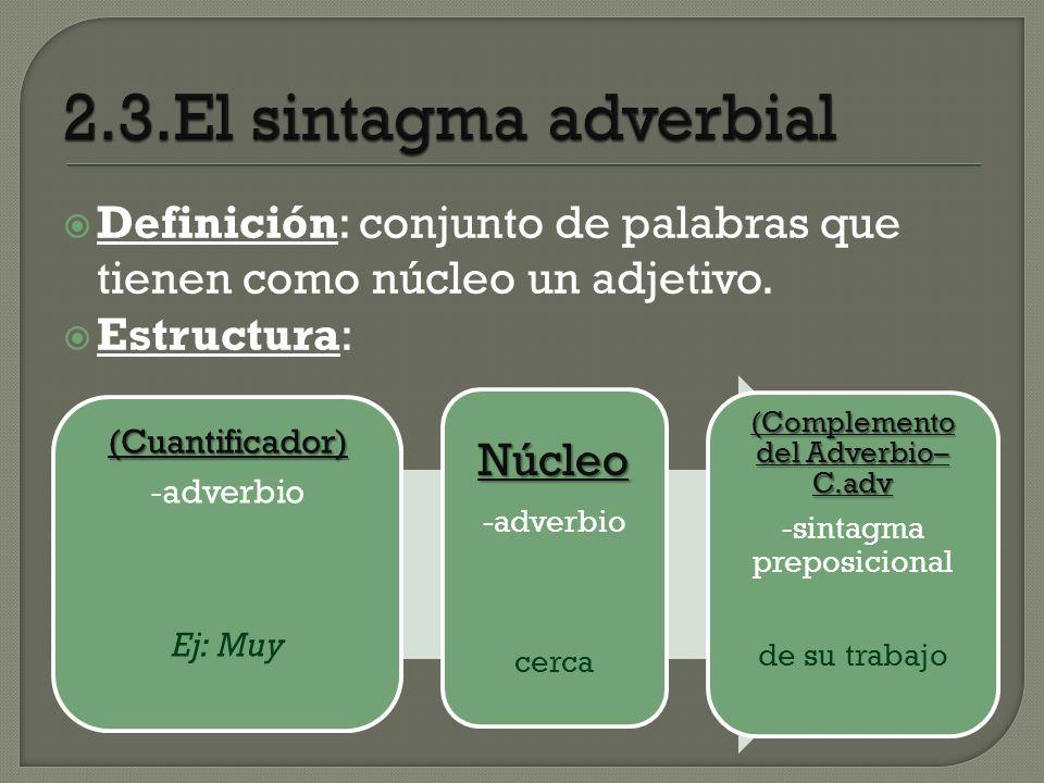 2.3.El sintagma adverbial Núcleo