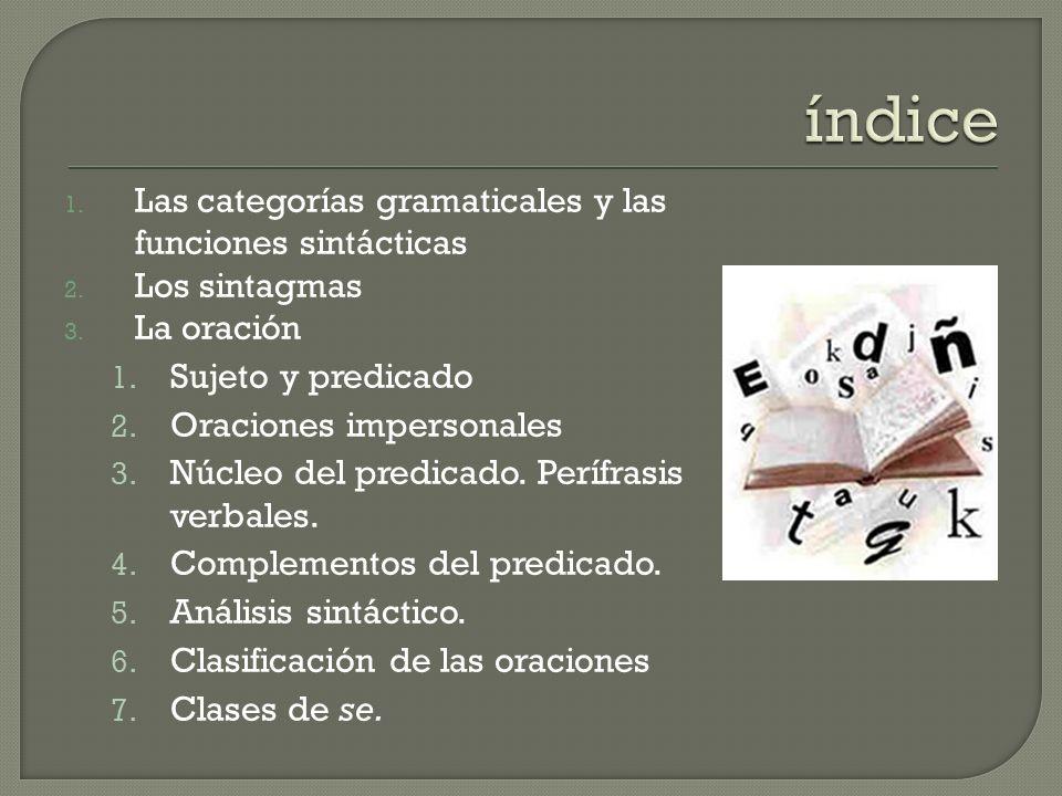 índice Las categorías gramaticales y las funciones sintácticas