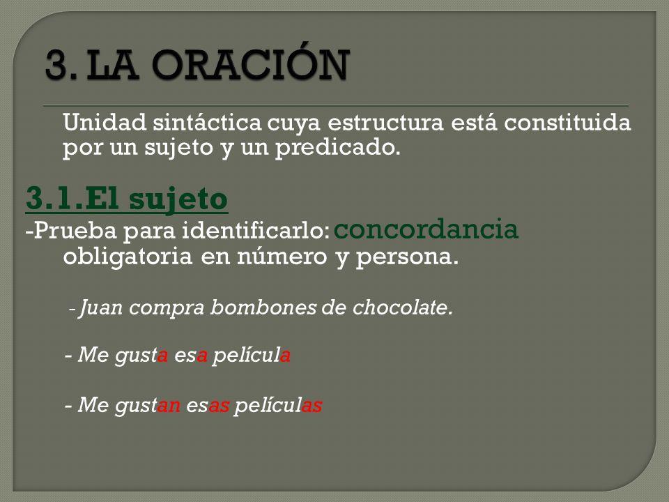 3. LA ORACIÓN 3.1.El sujeto - Juan compra bombones de chocolate.