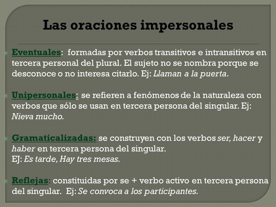 Las oraciones impersonales