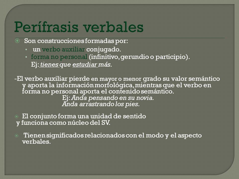 Perífrasis verbales Son construcciones formadas por: