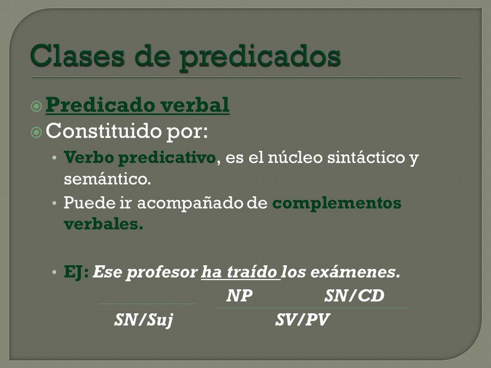 Clases de predicados Predicado verbal Constituido por: