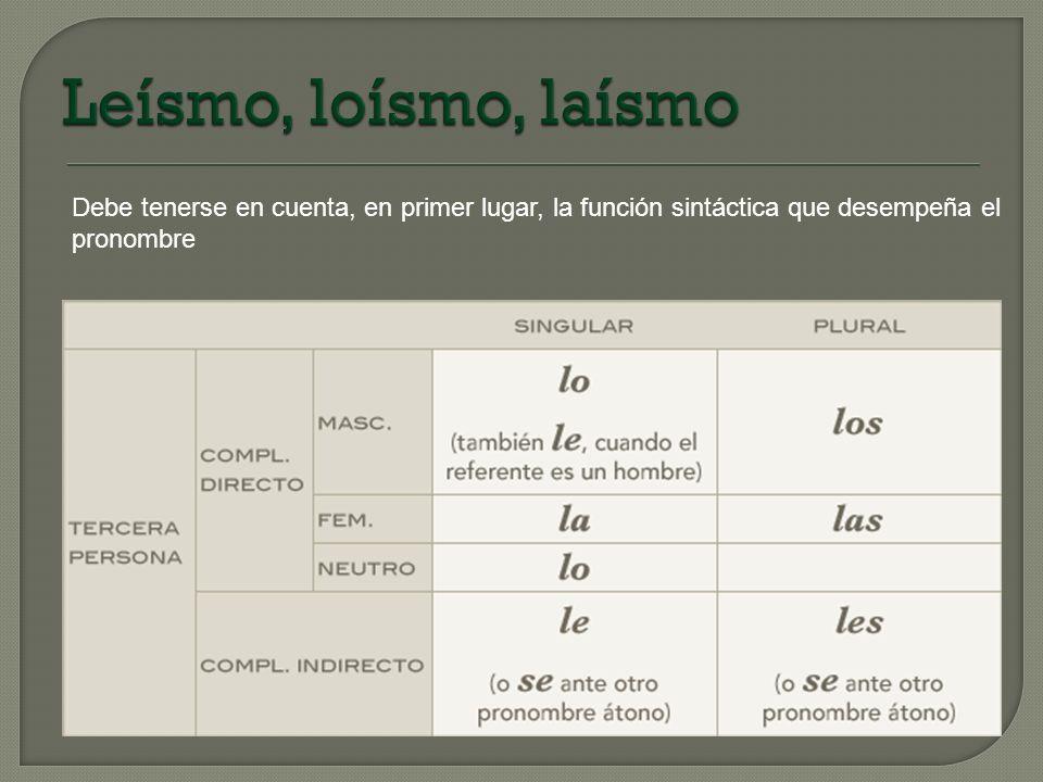Leísmo, loísmo, laísmo Debe tenerse en cuenta, en primer lugar, la función sintáctica que desempeña el.