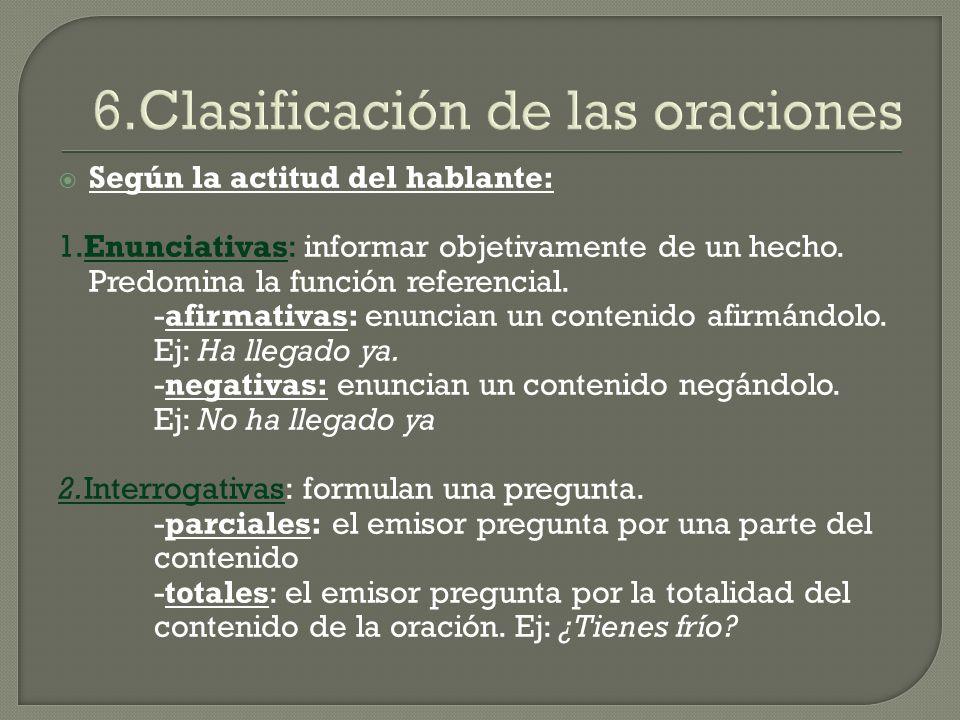 6.Clasificación de las oraciones