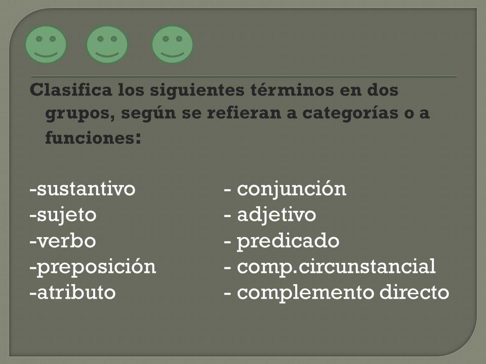 -sustantivo - conjunción -sujeto - adjetivo -verbo - predicado