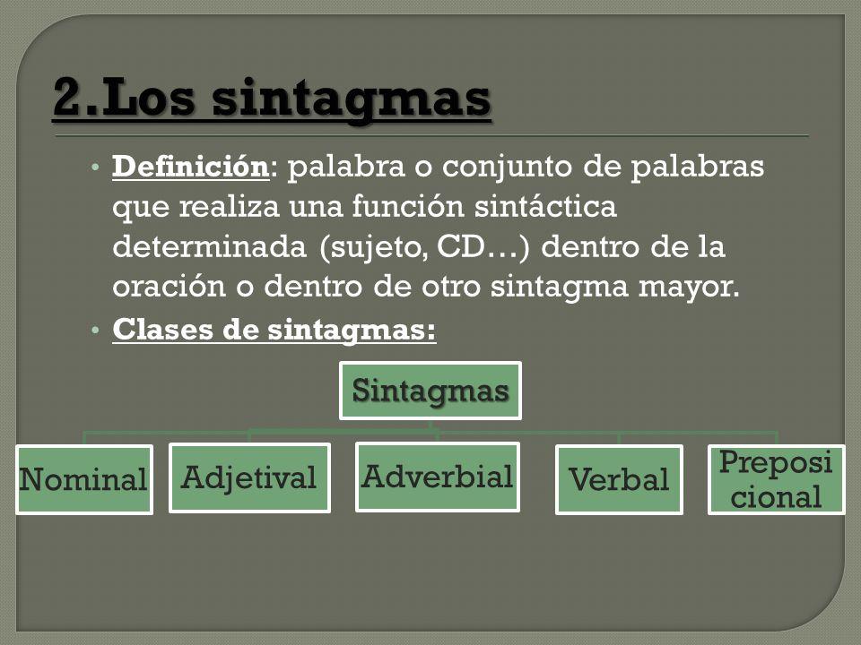 2.Los sintagmas Sintagmas Nominal Adjetival Adverbial Verbal