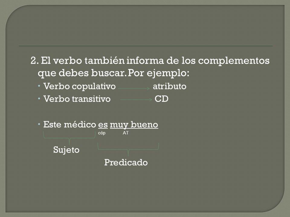 2. El verbo también informa de los complementos que debes buscar
