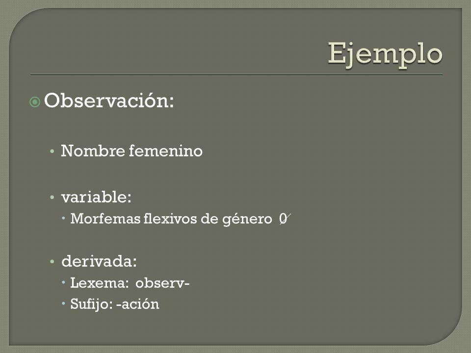 Ejemplo Observación: Nombre femenino variable: derivada: