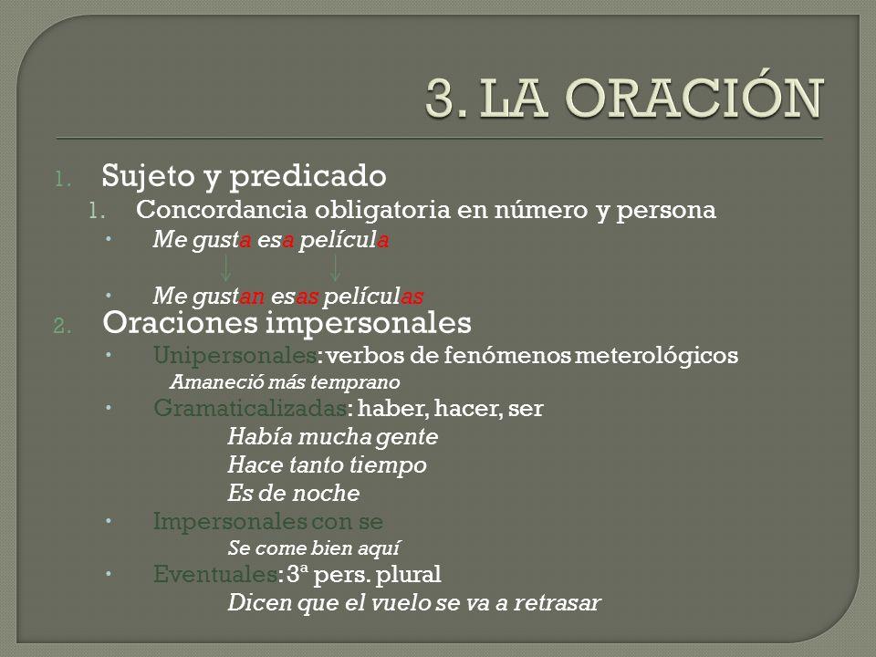 3. LA ORACIÓN Sujeto y predicado Oraciones impersonales