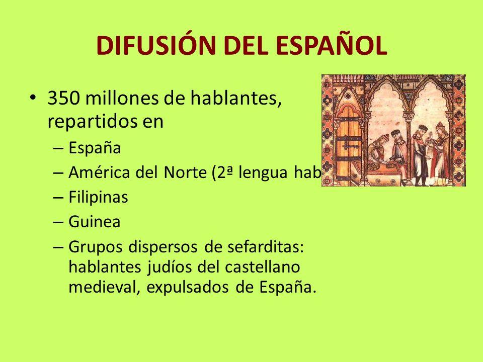 DIFUSIÓN DEL ESPAÑOL 350 millones de hablantes, repartidos en España