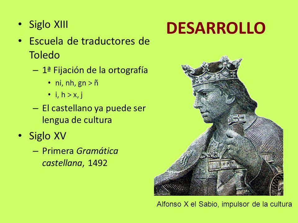 DESARROLLO Siglo XIII Escuela de traductores de Toledo Siglo XV