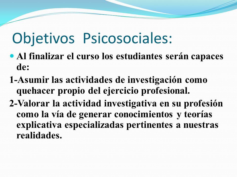 Objetivos Psicosociales: