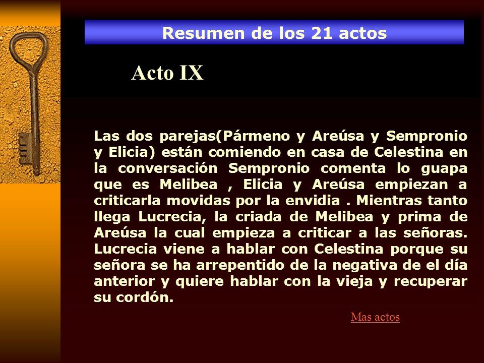 Acto IX Resumen de los 21 actos