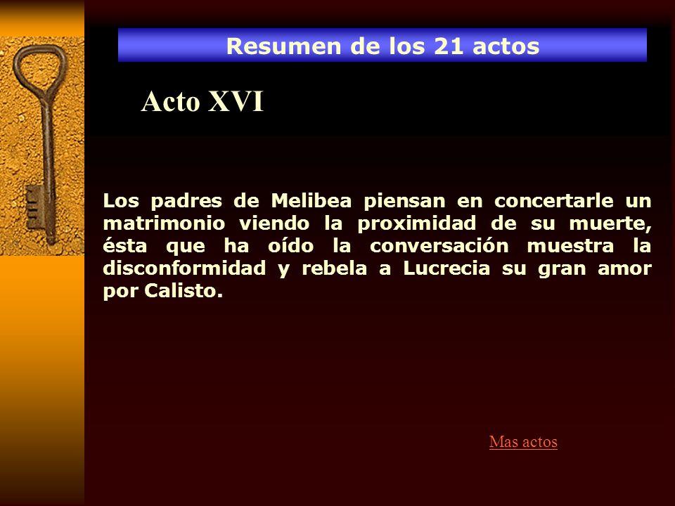 Acto XVI Resumen de los 21 actos