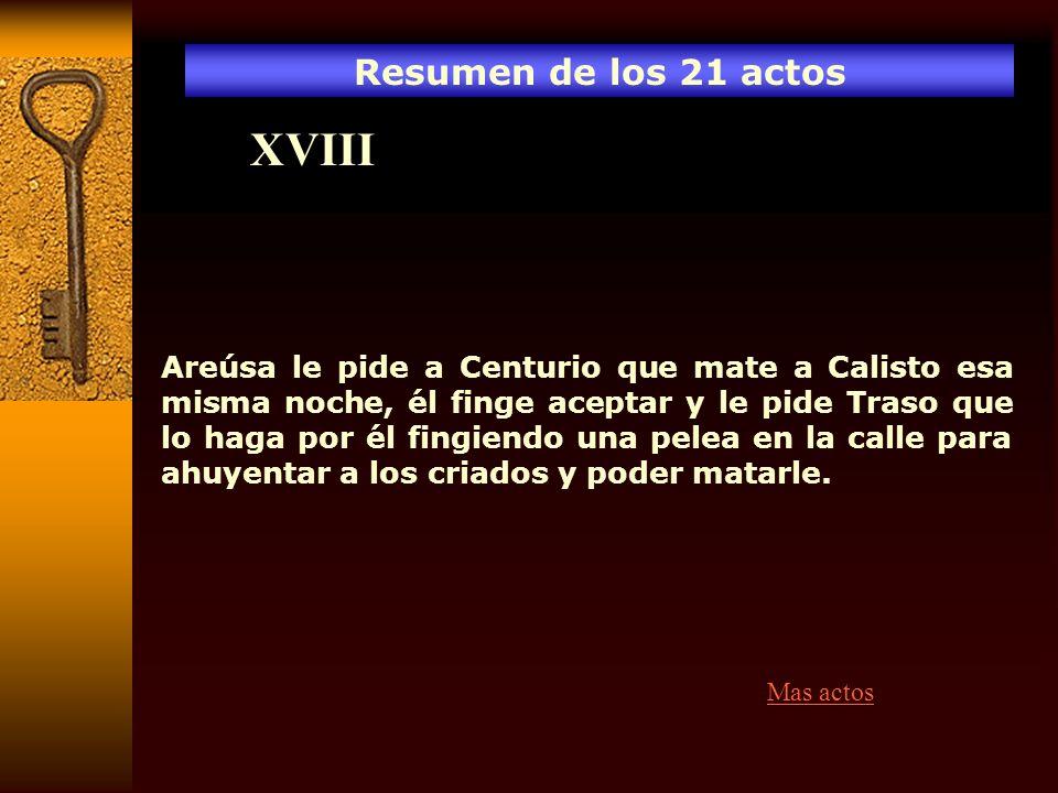 XVIII Resumen de los 21 actos