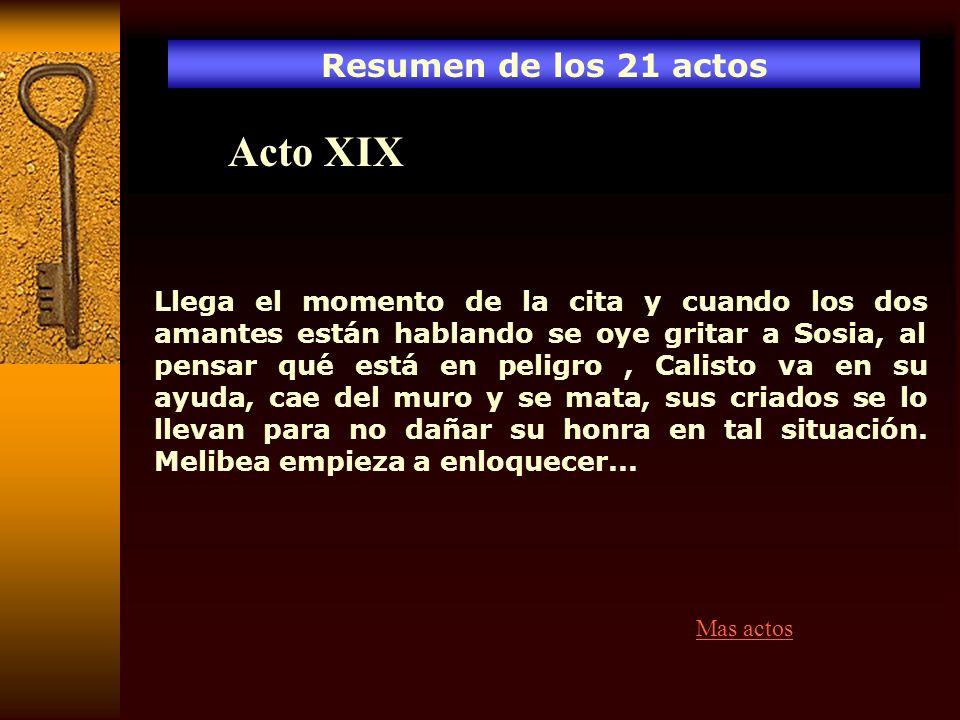 Acto XIX Resumen de los 21 actos