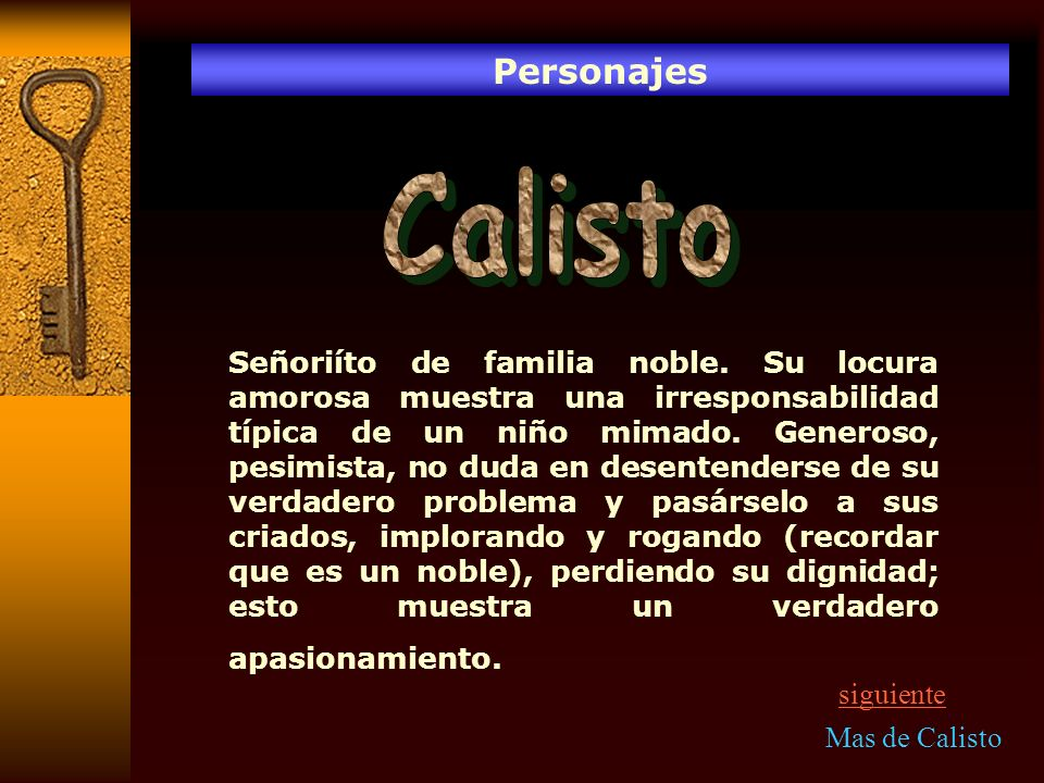 Personajes Calisto.