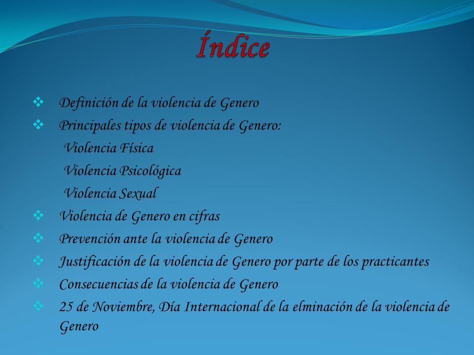 Índice Definición de la violencia de Genero