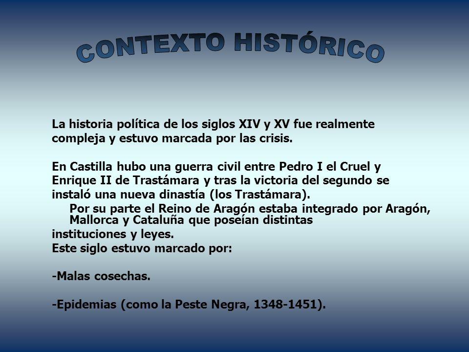 CONTEXTO HISTÓRICO La historia política de los siglos XIV y XV fue realmente. compleja y estuvo marcada por las crisis.