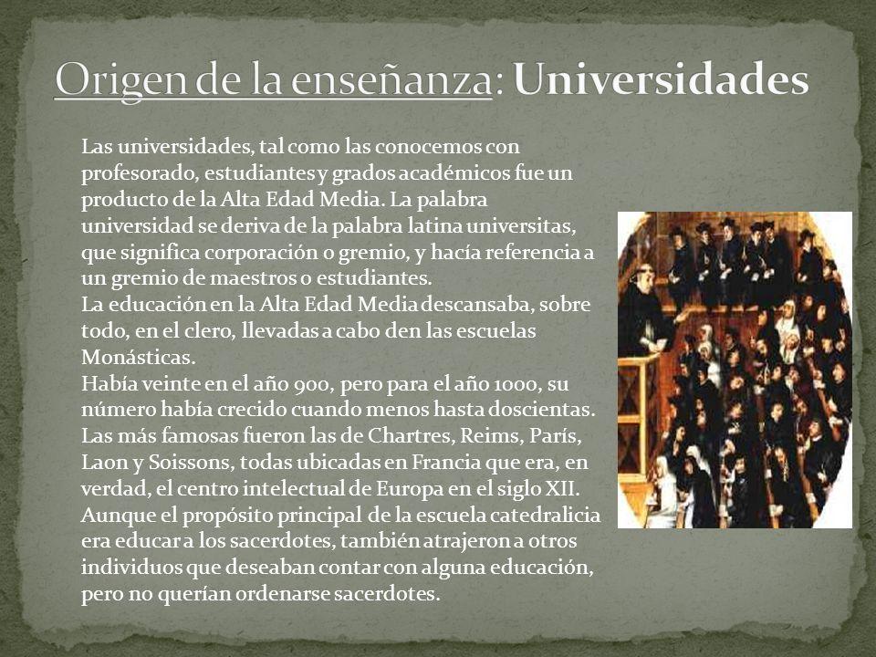 Origen de la enseñanza: Universidades